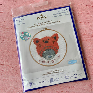 D.M.C. Hooped Cross  Stitch Kit,  Kitten Beanie