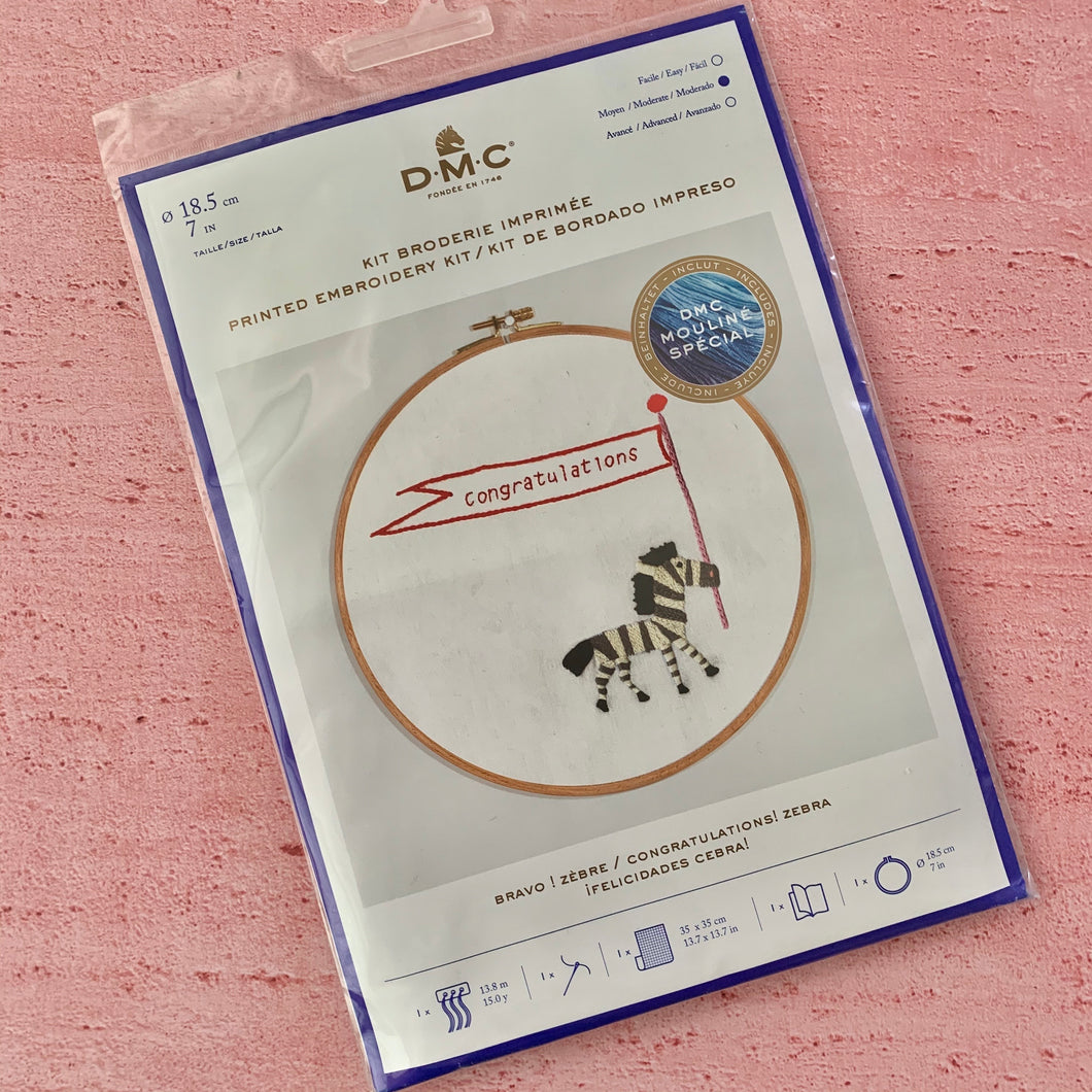 DMC, Hooped Embroidery  Kit, Congratulations! Zebra