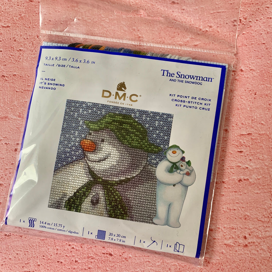 D.M.C. The Snowman and the Snowdog Cross Stitch Kit, It's Snowing