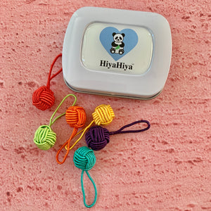 HiyaHiya, Notion Tin with Coloured Yarn Ball Stitch Markers