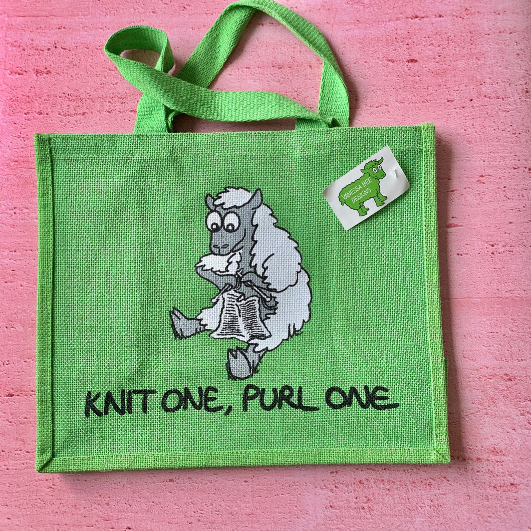 Green Sheep Bag,  Knit one, Purl One