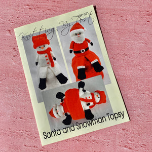 Knitting By Post, Santa and Snowman Topsy
