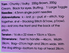 Load image into Gallery viewer, Dog Rucksack knitting Pattern, Knitting By Post.