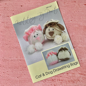 Cat and Dog Drawstring Bags Knitting Pattern, Knitting by Post