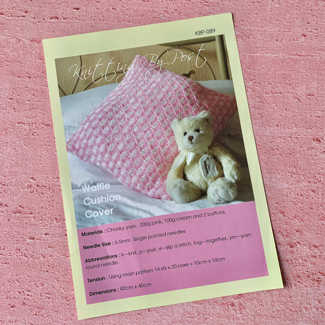 Waffle Cushion Cover Knitting Pattern, Knitting By Post