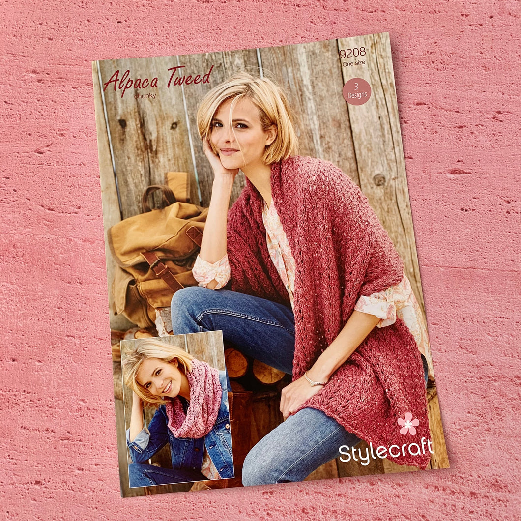 Stylecraft Knitting Pattern 9208, Alpaca Tweed, Chunky.