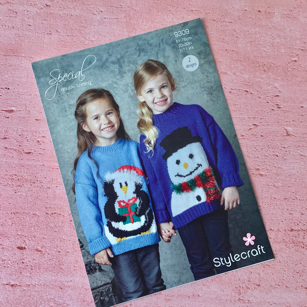 Stylecraft  Knitting Pattern 9309, Christmas Ages from age 1-2  to 10-11