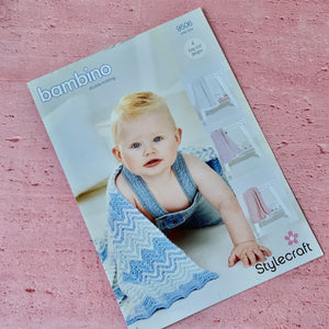Stylecraft, Bambino Knitting Pattern 9506, 4 Easy Knit Designs