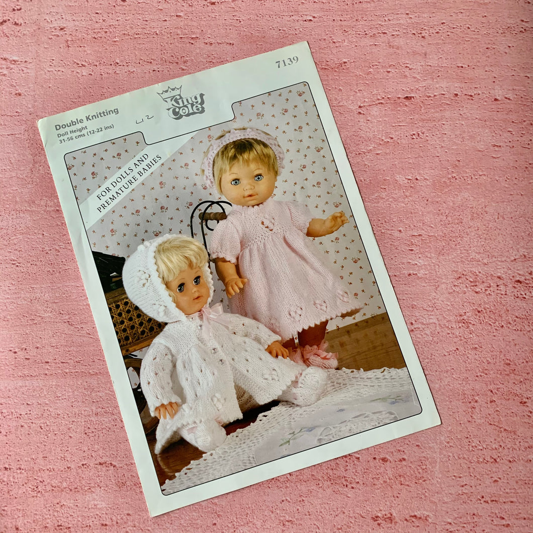 King Cole, Pattern 7139, For Dolls and Premature Babies, Used