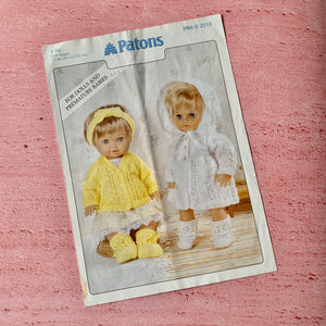 Patons, Pattern 2510, For Dolls and Premature Babies, Used