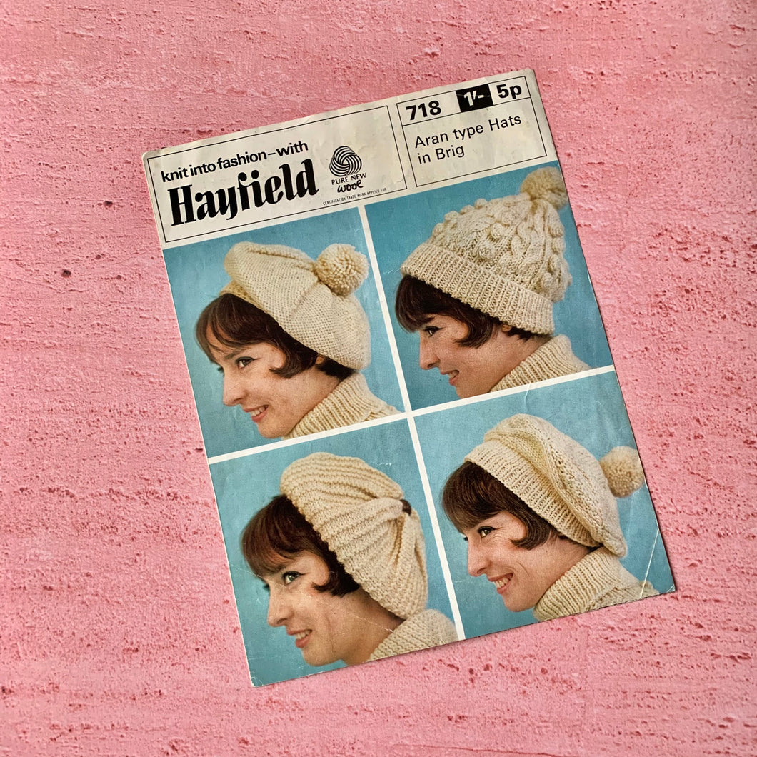 Hayfield, Pattern 718, Aran Type Hats in Brig, Used