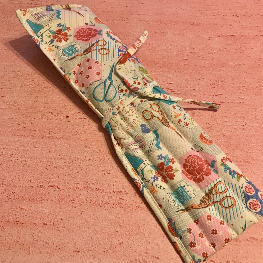 Knitting Pin Roll, Filled with Rose Gold Pins