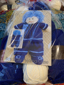 Boy Dolly Pyjama Case Knitting Pattern plus wool