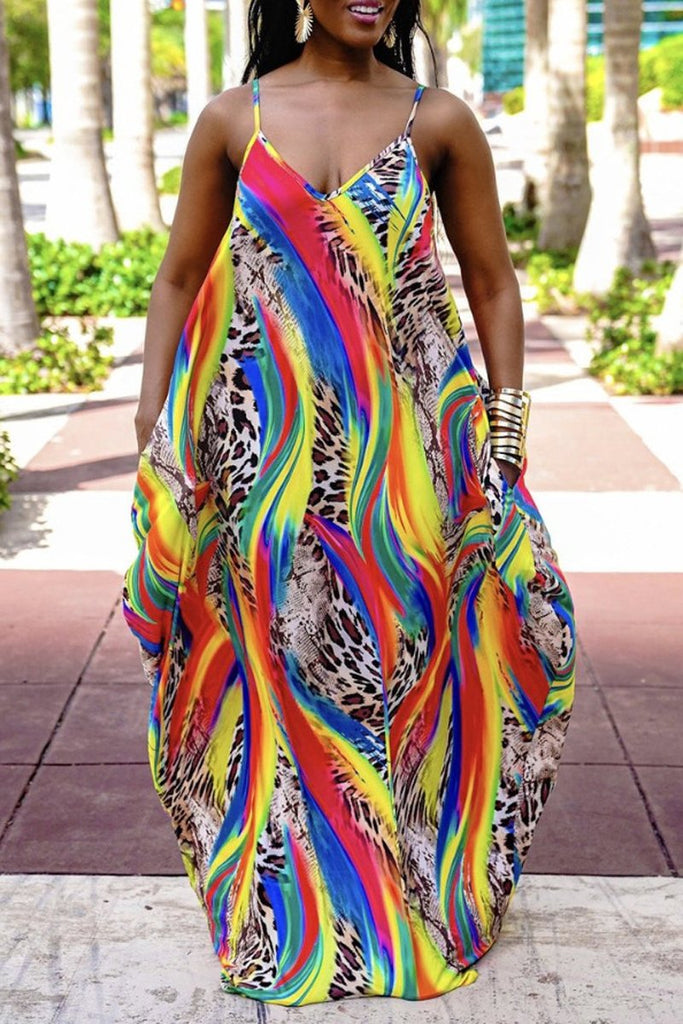 Leopard Color Splicing Halter Neck Maxi Dress