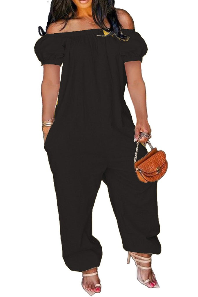 Off The Shoulder Short Sleeve Loose Jumpsuit