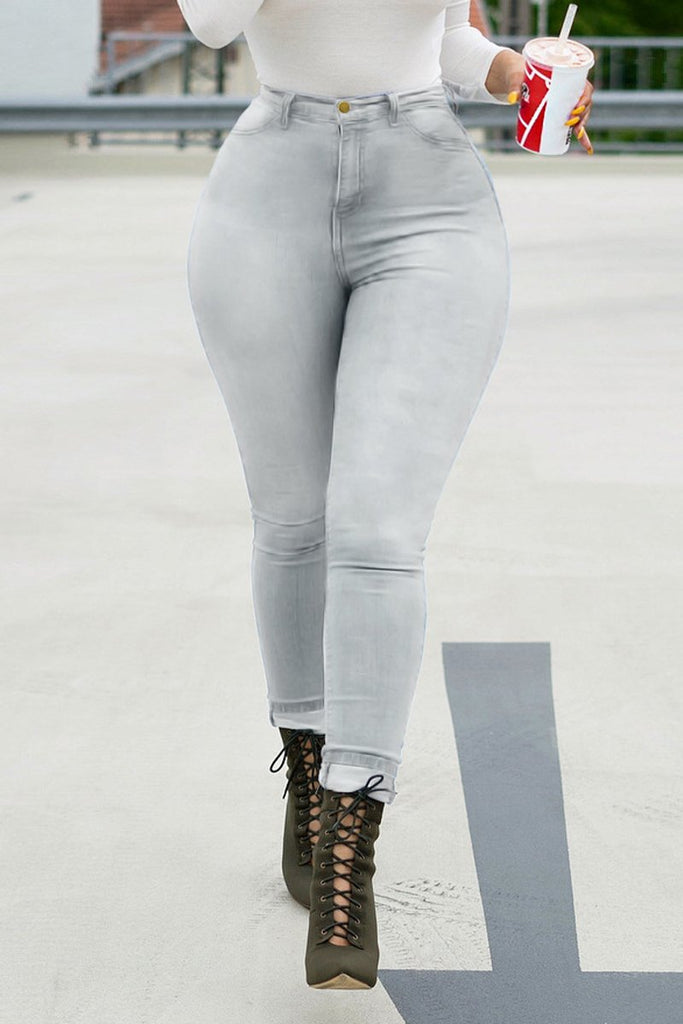 Plus Size Denim High Waist Skinny Jeans