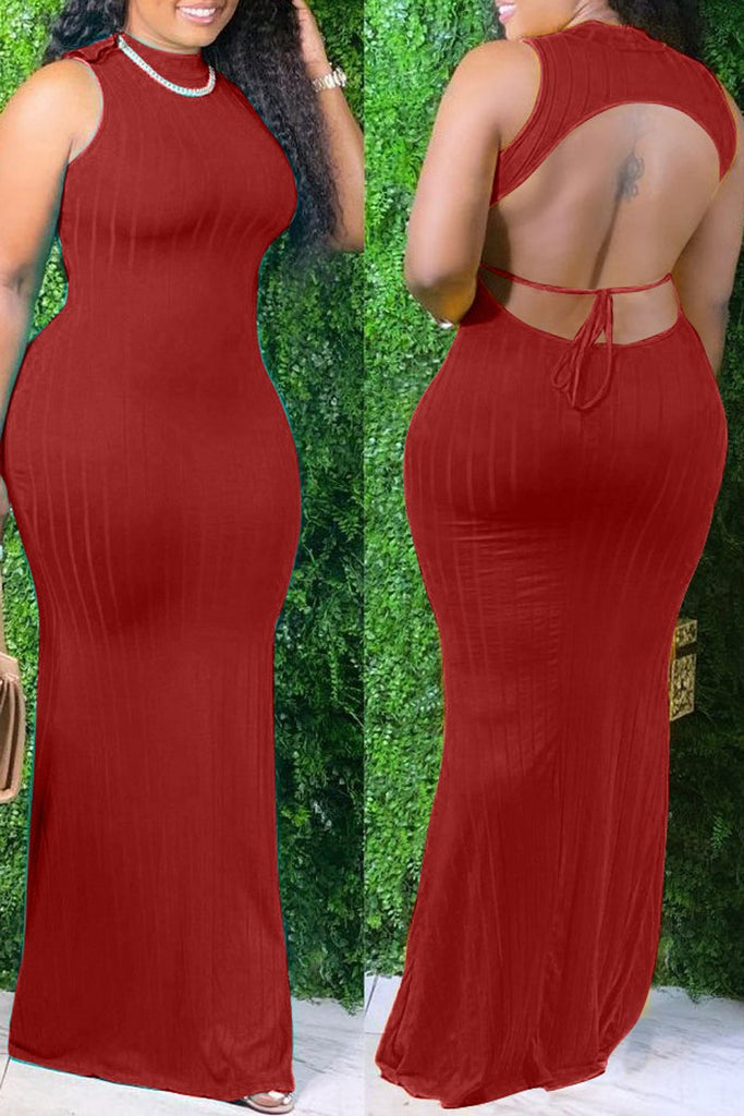 Solid Color Rib Open Back Plus Size Maxi Dress