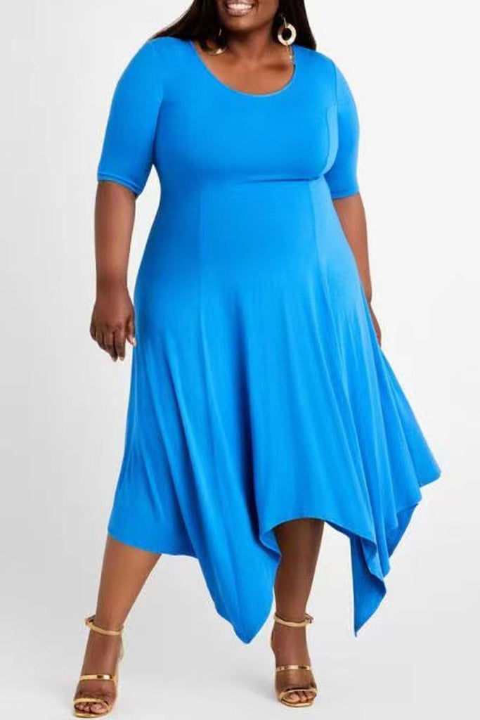 Plus Size Irregular Hem Round Neck Maxi Dress