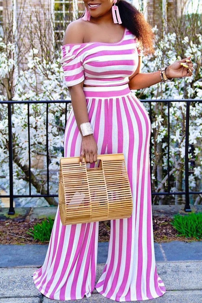 Stripe Print Round Neck Wide Leg Two Piece Sets