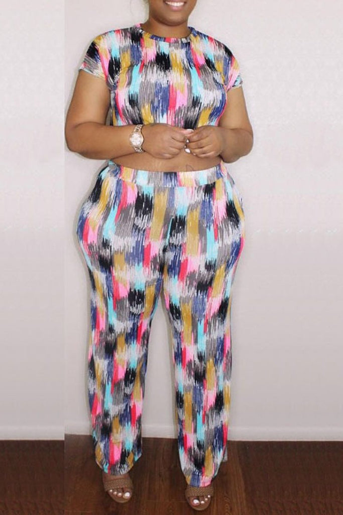 Digital Print Plus Size Short Sleeve Two Piece Sets