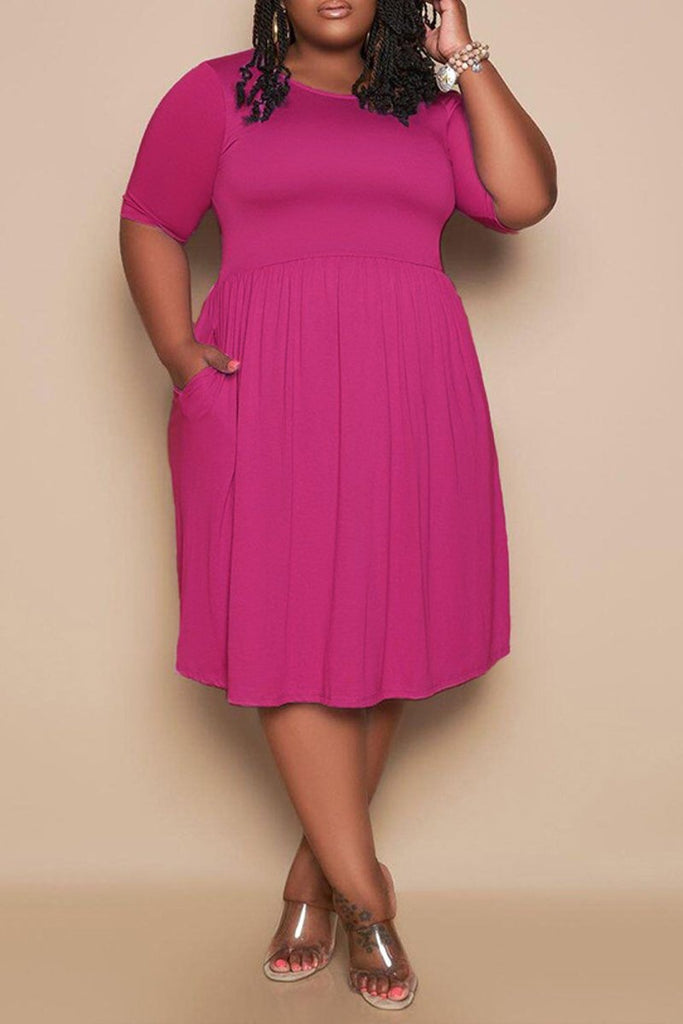 Plus Size Solid Color Pleated Round Neck Dress