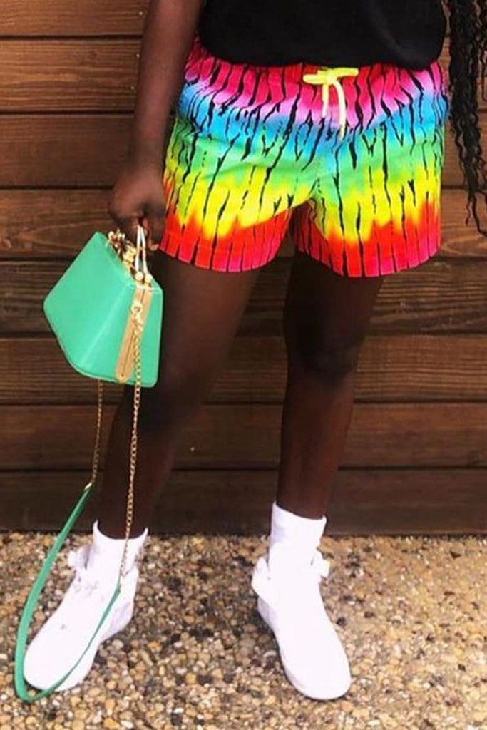 Rainbow Striped Drawstring Waist Shorts