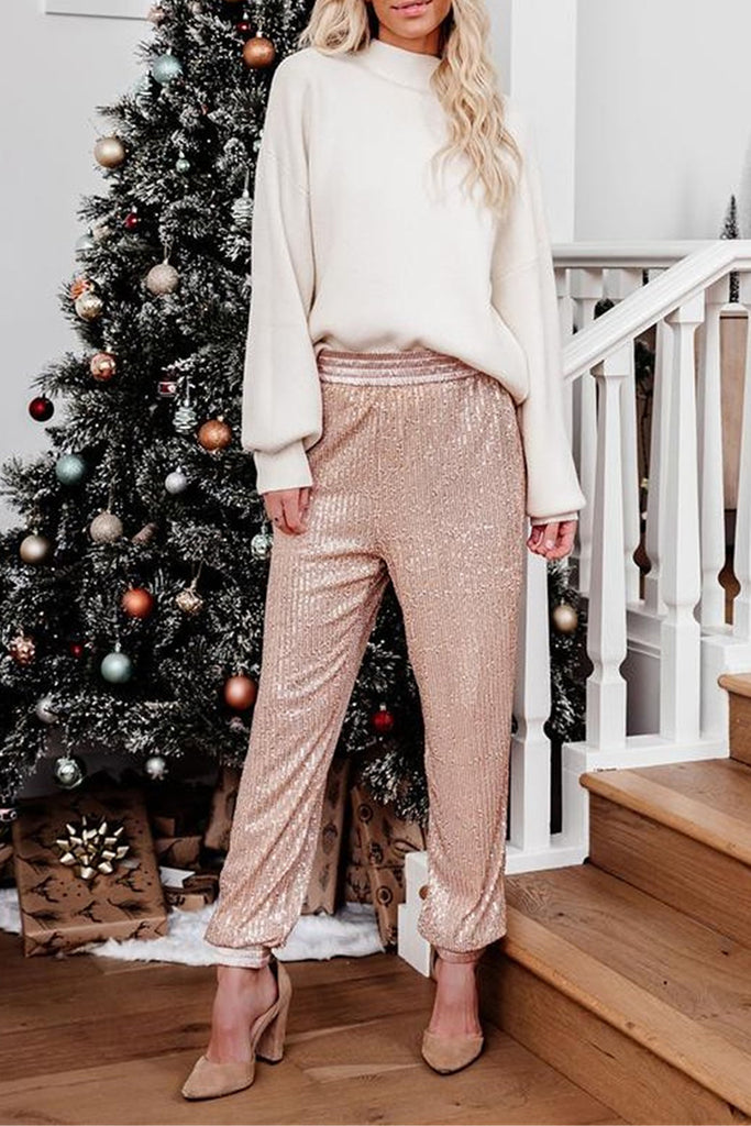 Sequins Side Pocket Solid Color Pants