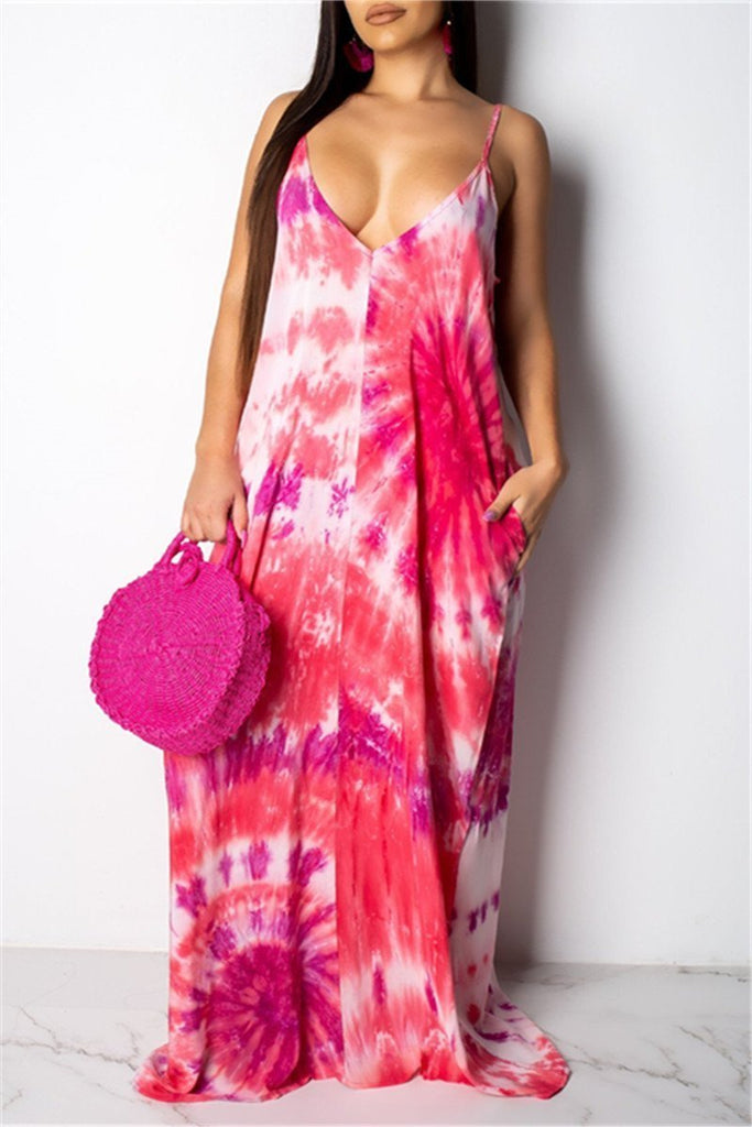 Spaghetti Straps Printed Pocket Maxi Dress