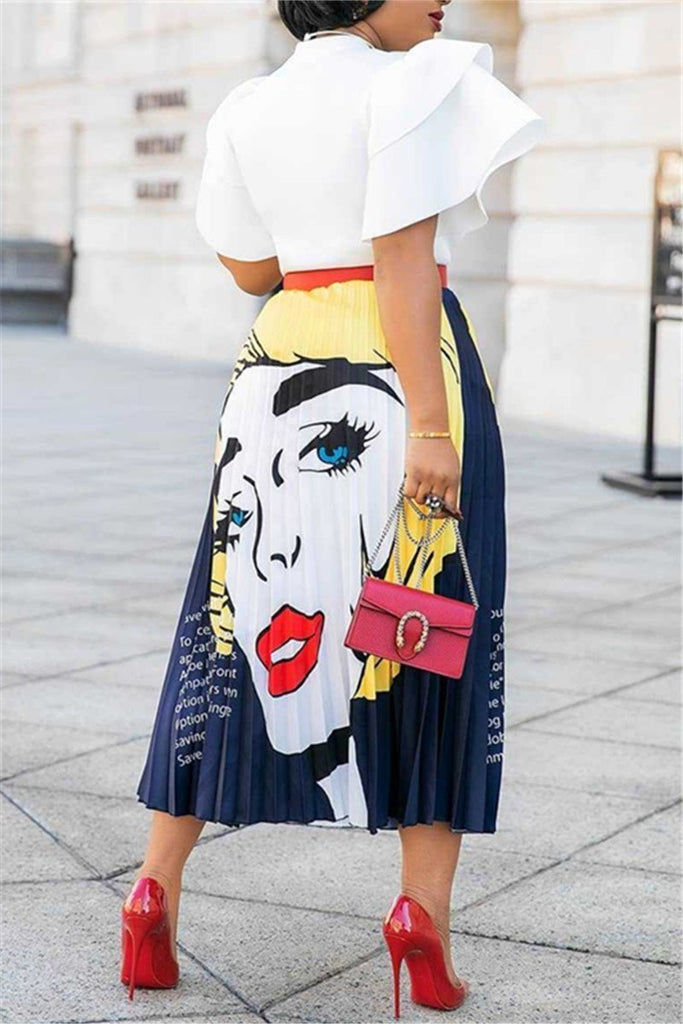 Character Print High Waist Pleated Skirt