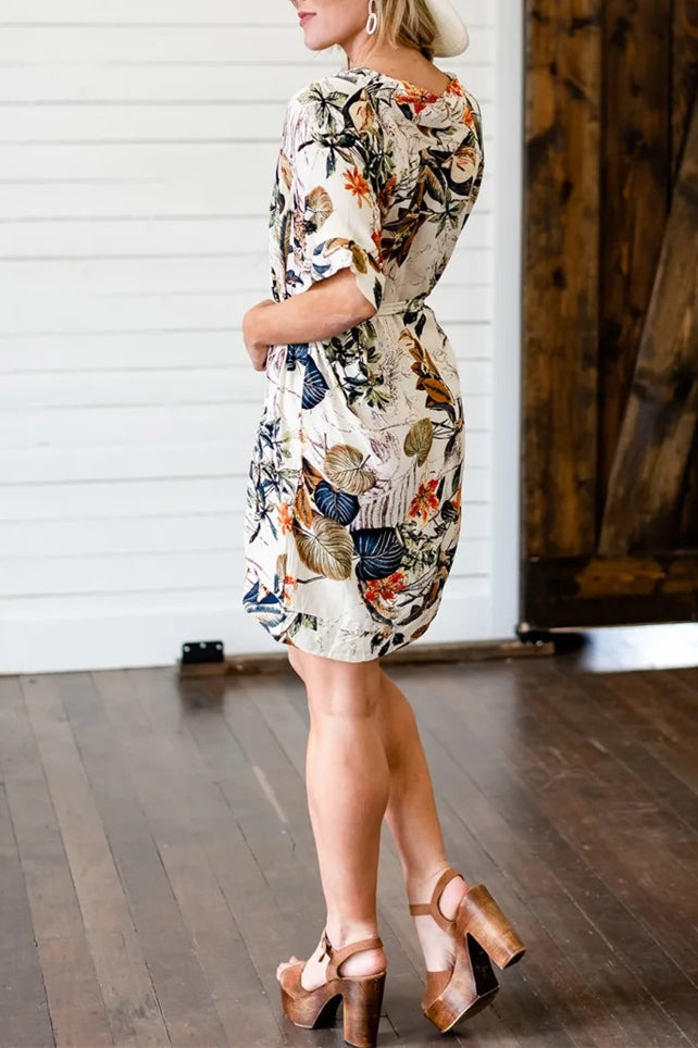 Flower Print V Neck Belted Mini Dress