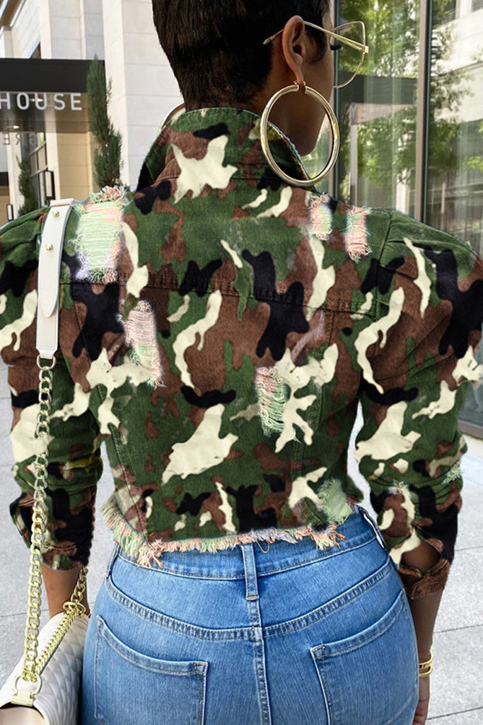 Plus Size Camouflage Print Distressed Denim Jacket