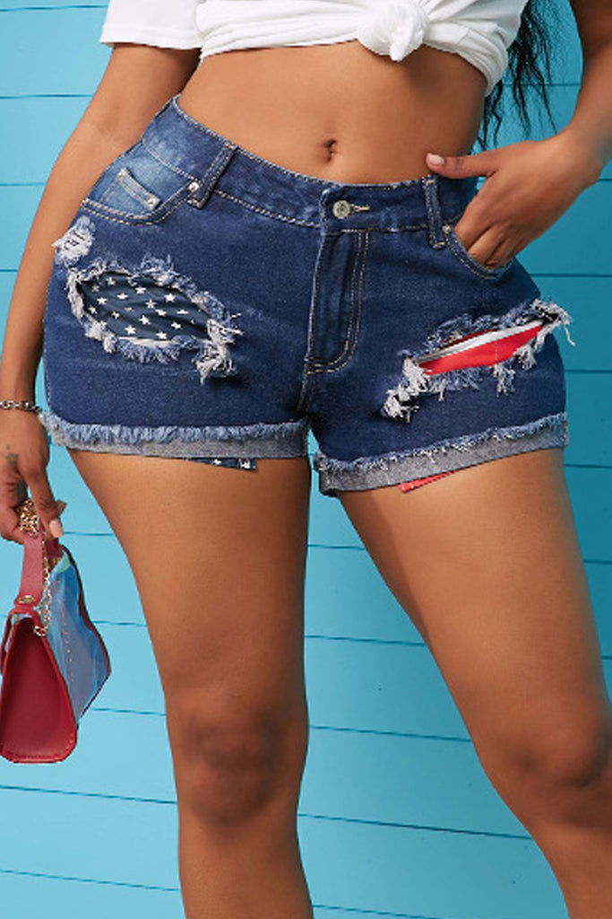American Flag Print Denim Plus Size Shorts