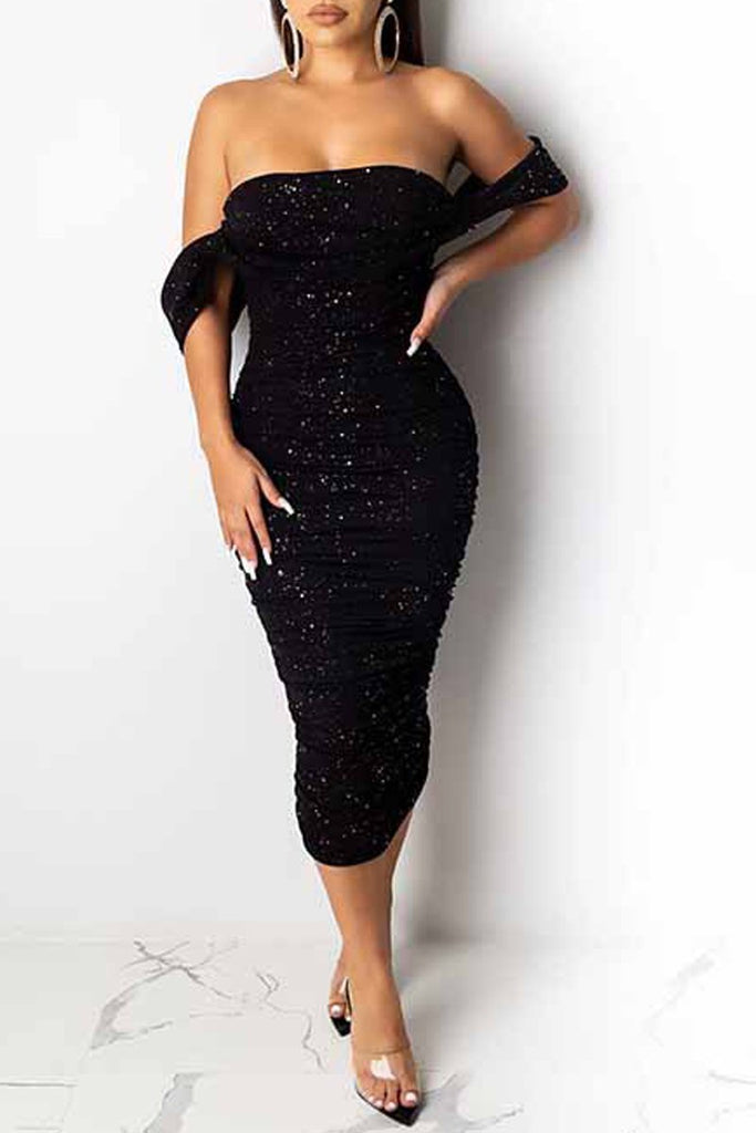 Sequin Open Back Strapless Midi Dress
