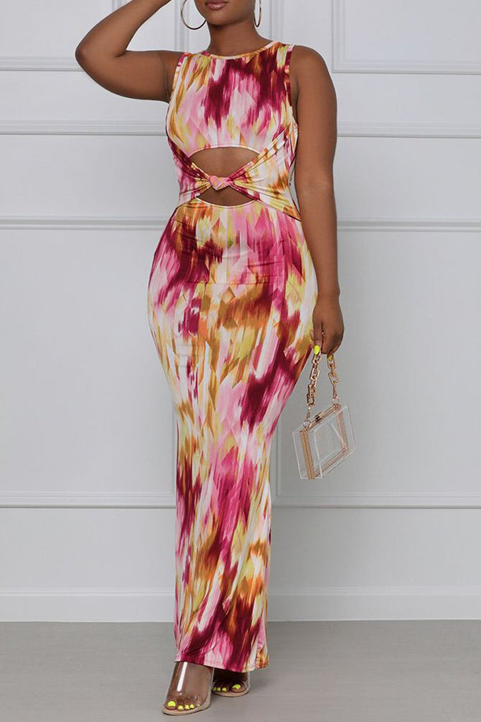 Digital Print Cutout Knotted Sleeveless Maxi Dress