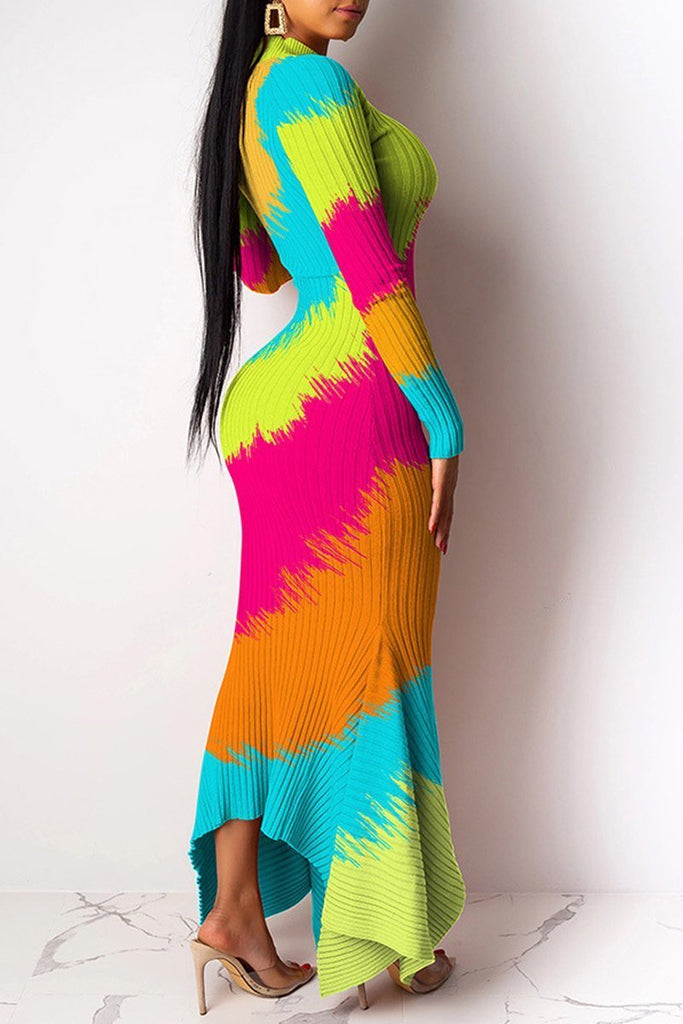 Mixed Color Asymmetric Hem Maxi Dress