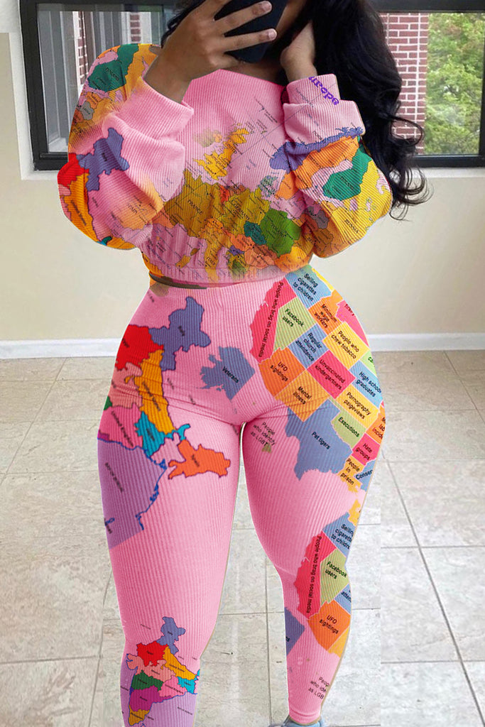 Plus Size Map Print Long Sleeve Two Piece Sets