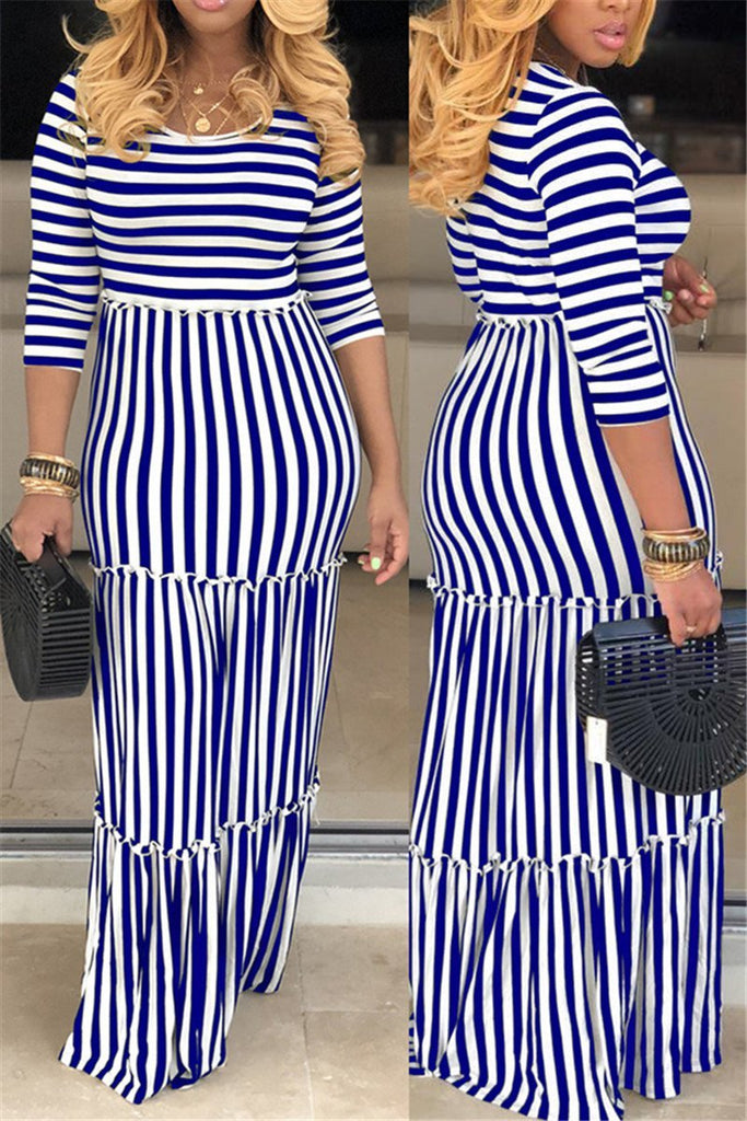 Stripe Print High Waist Maxi Dress