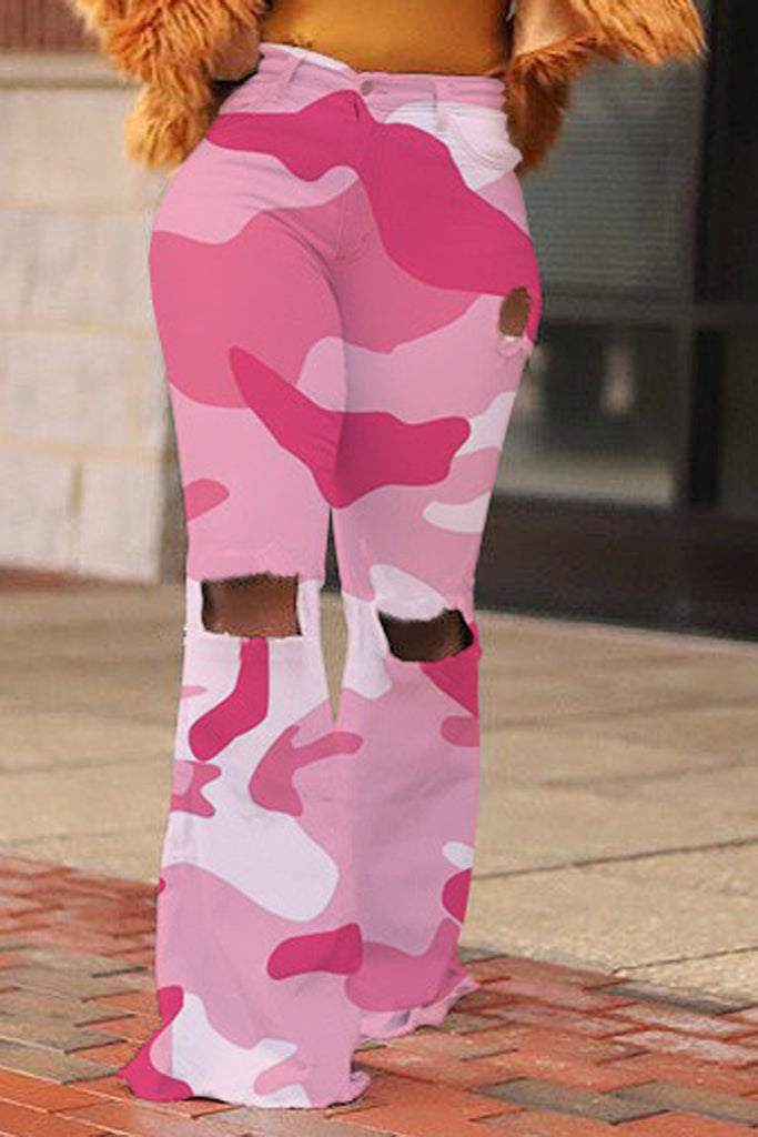 Hole Distressed Camouflage Flared Pants