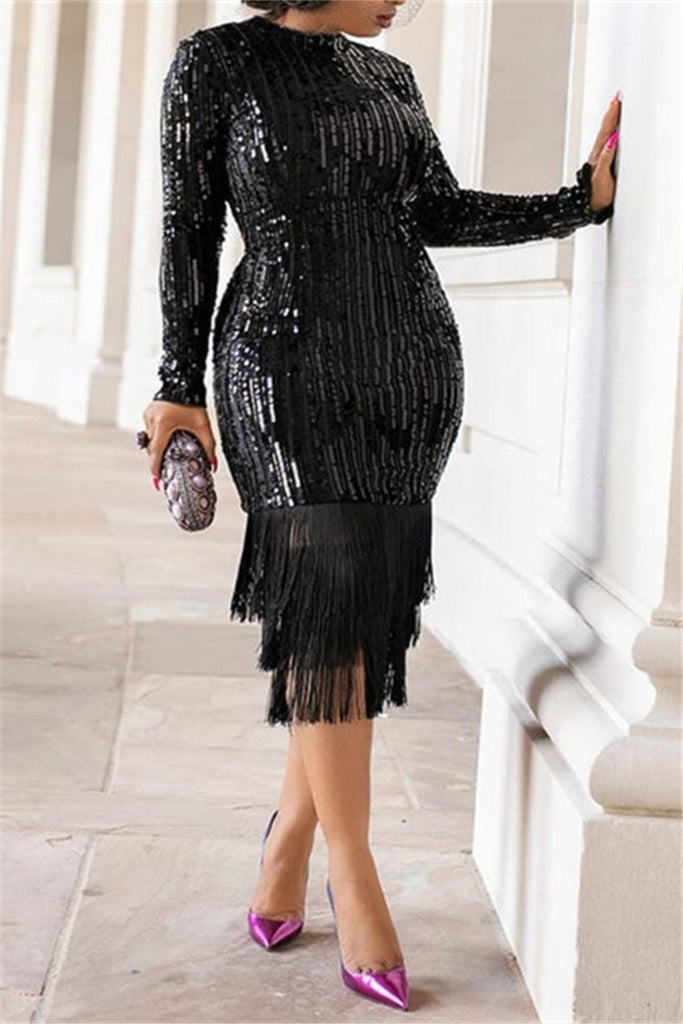 Tassels Hem Long Sleeve Sequined Dress