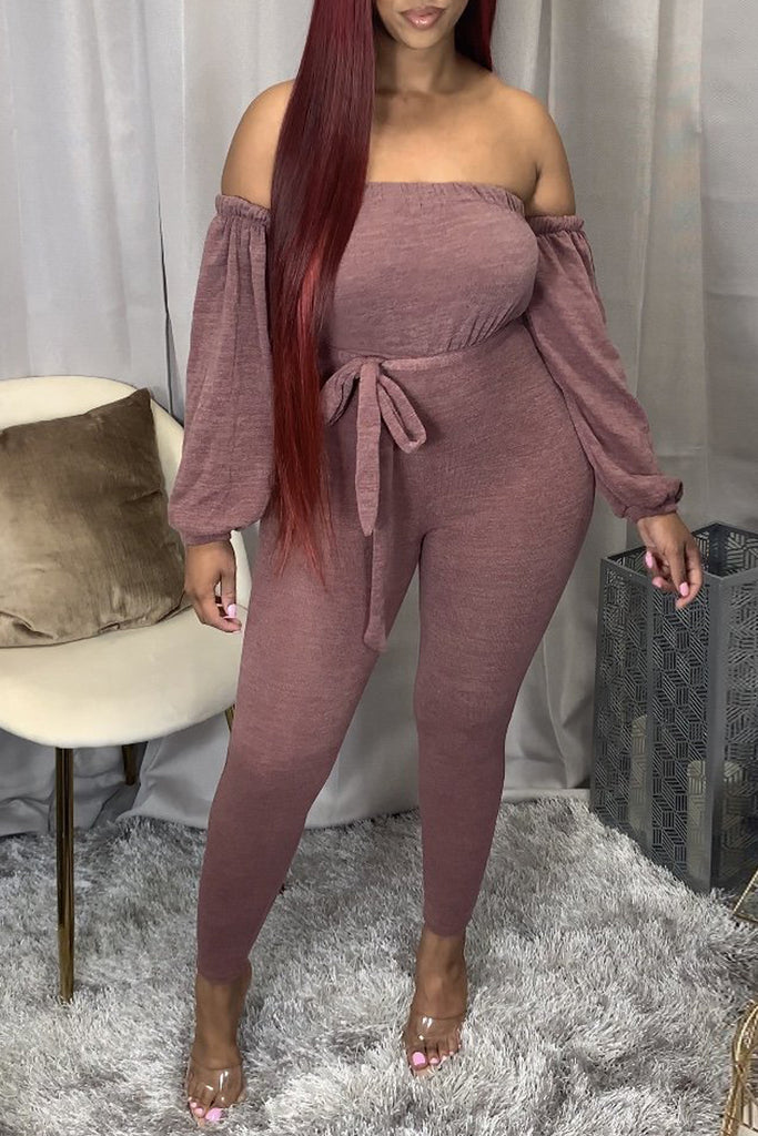 Plus Size Off The Shoulder Lace-up Jumpsuit