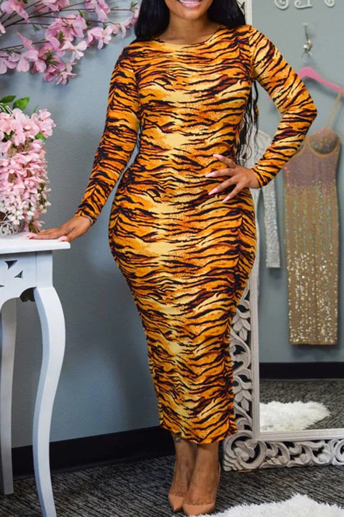 Animal Print Back Slit Long Sleeve Dress