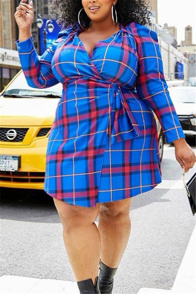 Plus Size V Neck Plaid Wrap Dress