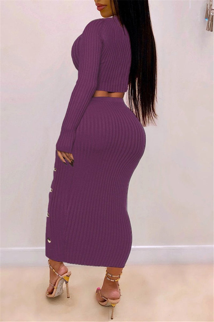 Solid Color Long Sleeve Knitted Two Piece Dress