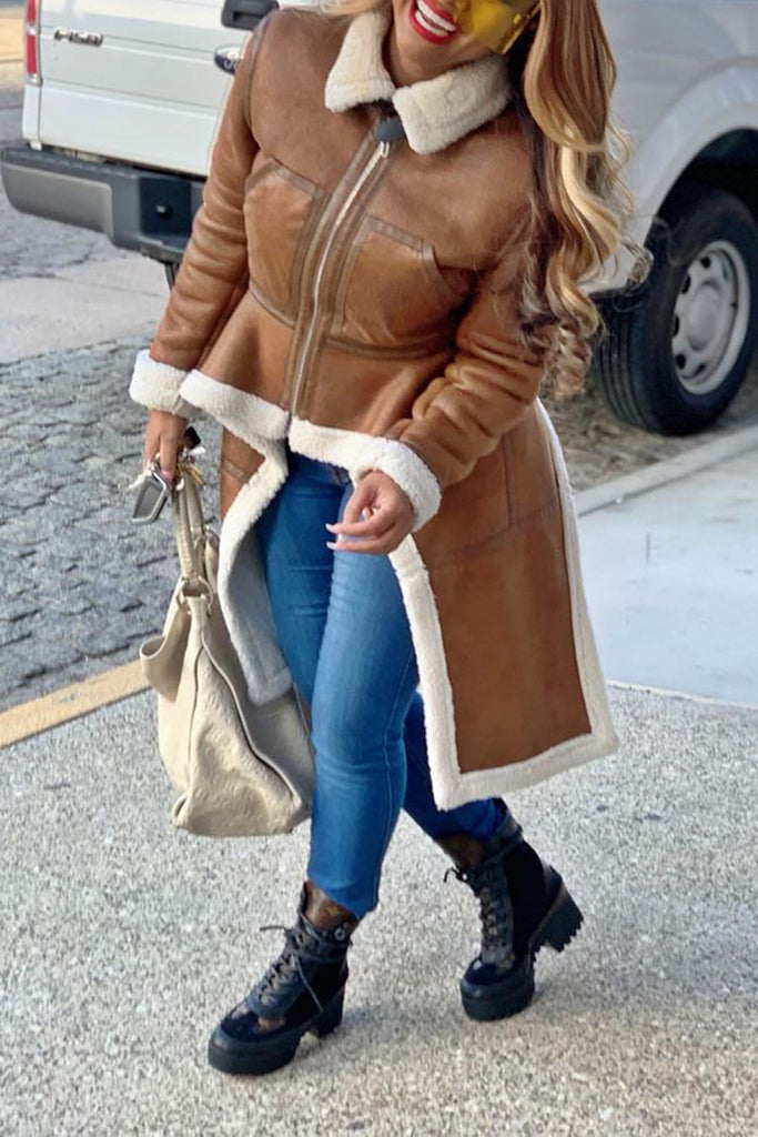 Leather Irregular Hem Wide Lapel Plus Size Coat