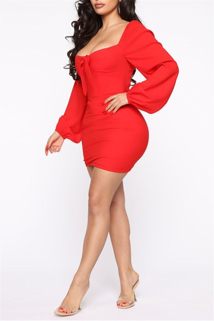 Square Collar Lantern Sleeve Mini Dress