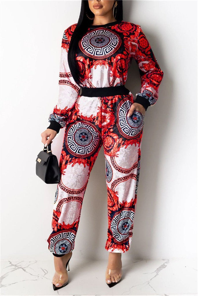 Printed Long Sleeve Pocket Casual Two Piece Sets