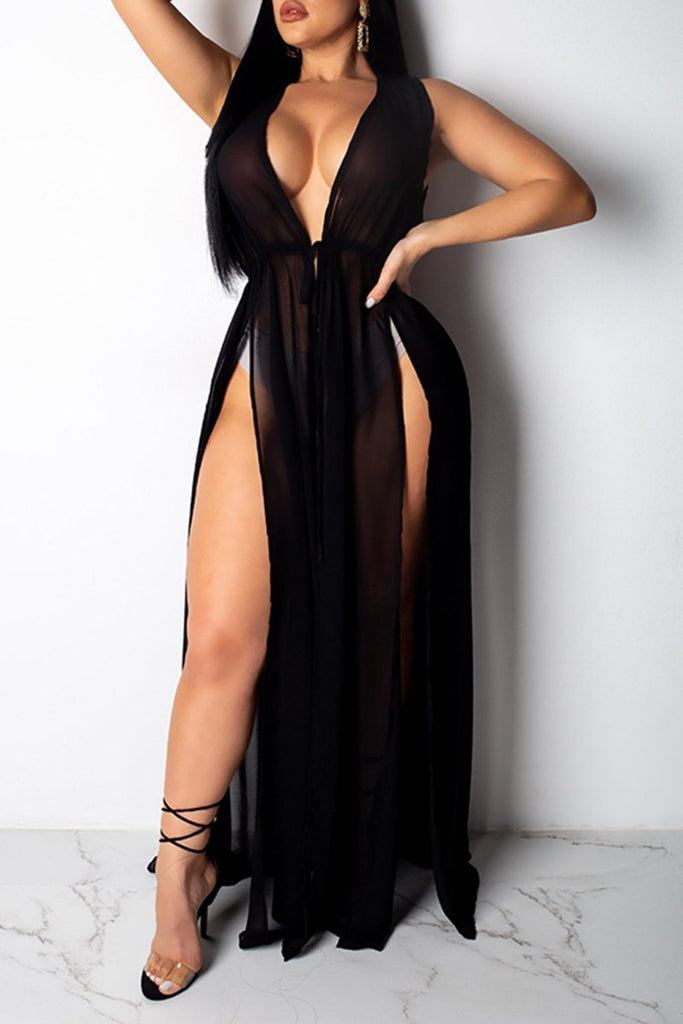 See-Through High Slit Net Yarn Beach Dress