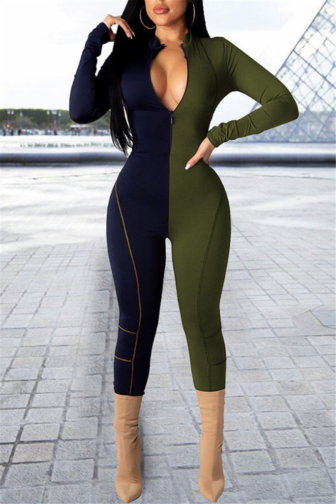 Zip Up Color Block Long Sleeve Jumpsuit