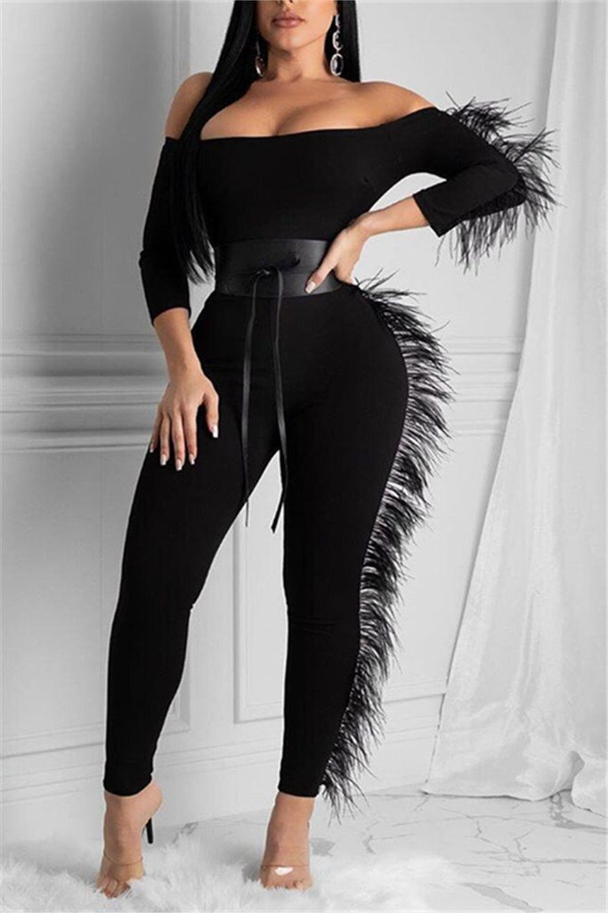 Feather Decor Off the Shoulder Sexy Jumpsuit