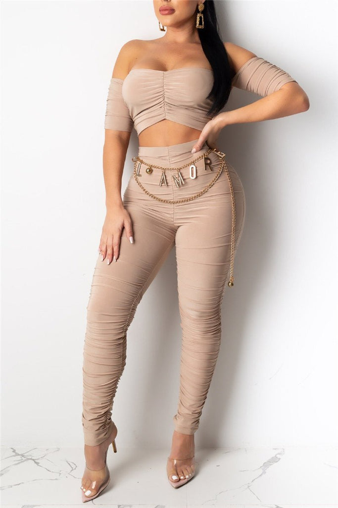 Off the Shoulder Solid Color Ruched Two Piece Sets